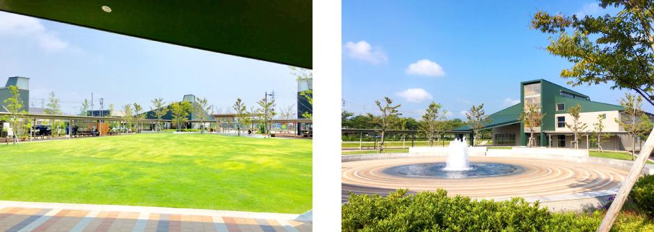まちなか広場 噴水と芝生